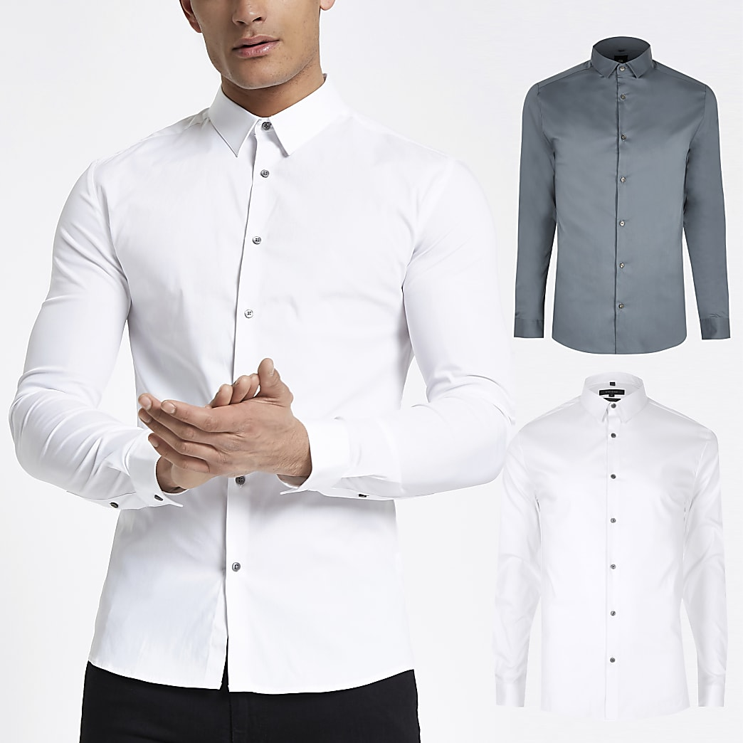 Lot de2 chemisesajustées blanc et bleu