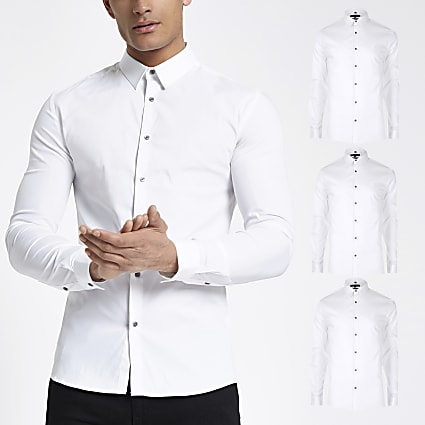 White muscle fit long sleeve shirt 3 pack