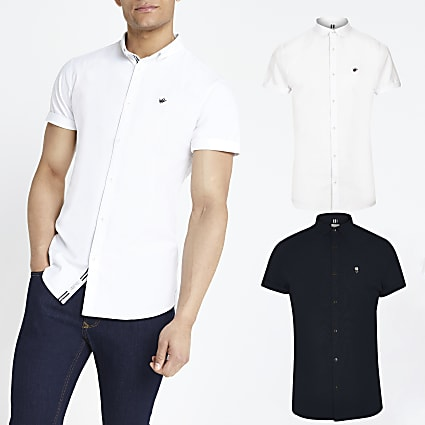 Navy and white slim fit Oxford shirt 2 pack