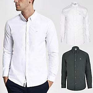 Set van 2 witte en salie muscle fit Oxford overhemden