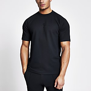 Maison Riviera - Marineblauw slim-fit T-shirt met textuur