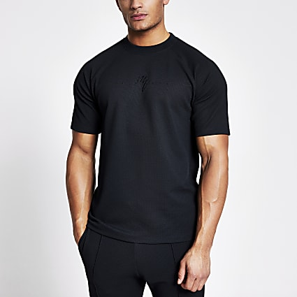 Maison Riviera navy textured slim fit T-shirt