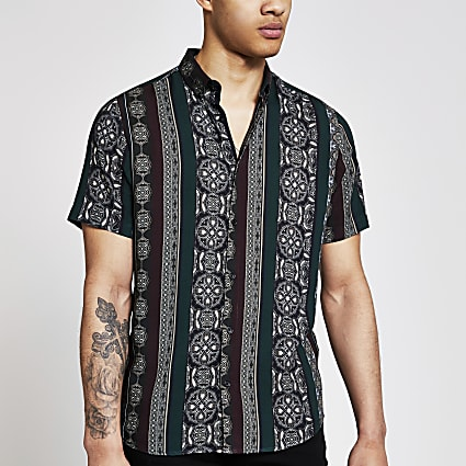 Black printed short sleeve slim fit shirt