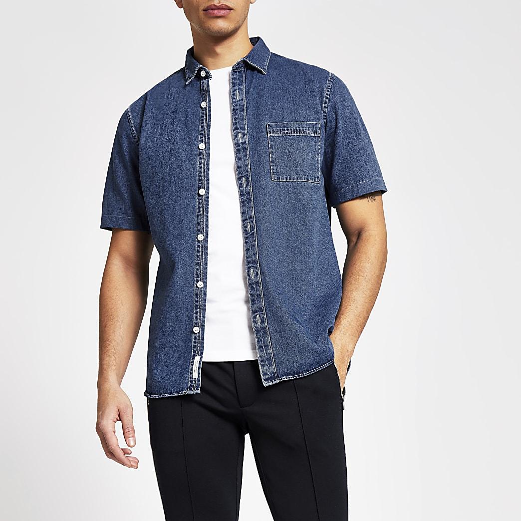 Blauw regular fit denim overhemd met korte mouwen