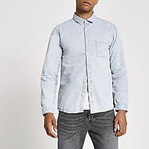 Lichtblauw washed regular fit denim overhemd