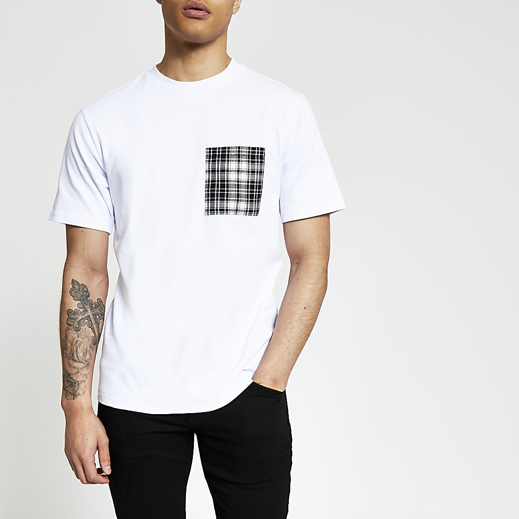 White check printed pocket slim fit T-shirt