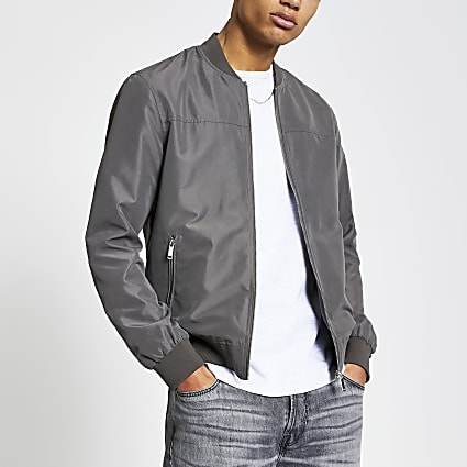 Grey long sleeve zip front bomber jacket