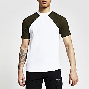 Maison Riviera – T-shirt slim kakià manches raglan