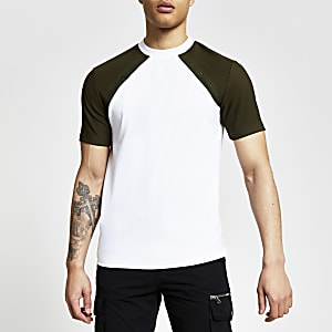 Maison Riviera- Kaki slim-fit T-shirt met raglanmouwen