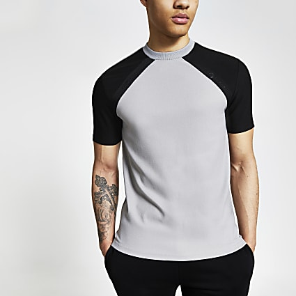 Maison Riviera grey raglan slim fit T-shirt