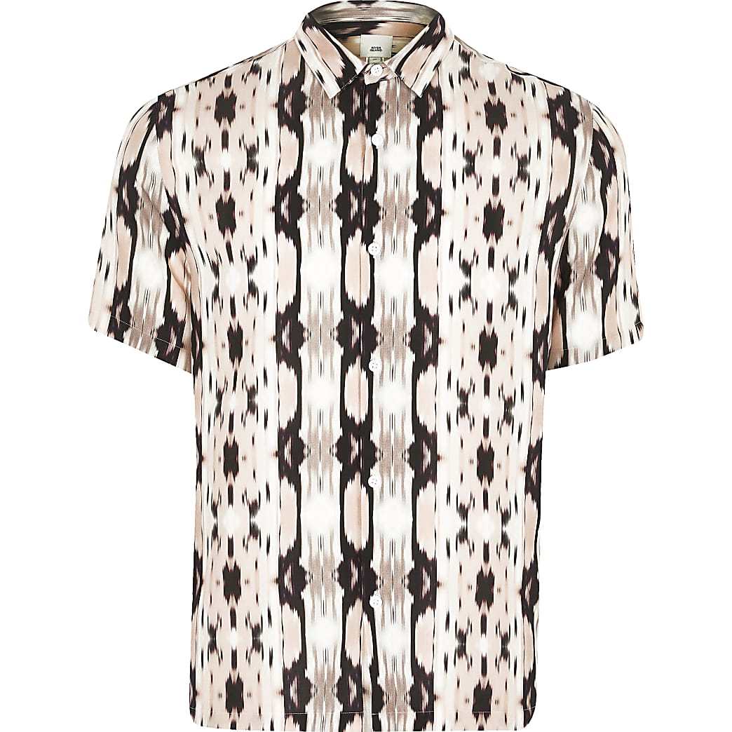 Big and Tall - Roze slim-fit overhemd met abstractprint