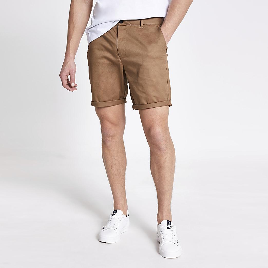 Brown Dylan slim fit shorts