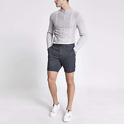Dark grey Dylan slim fit shorts