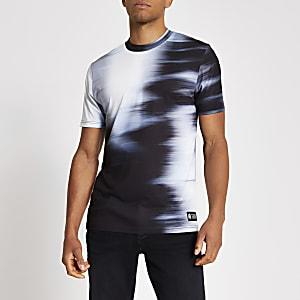 Wit slim-fit T-shirt met vervaagde print