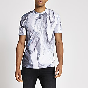 Wit slim-fit T-shirt met marmerprint