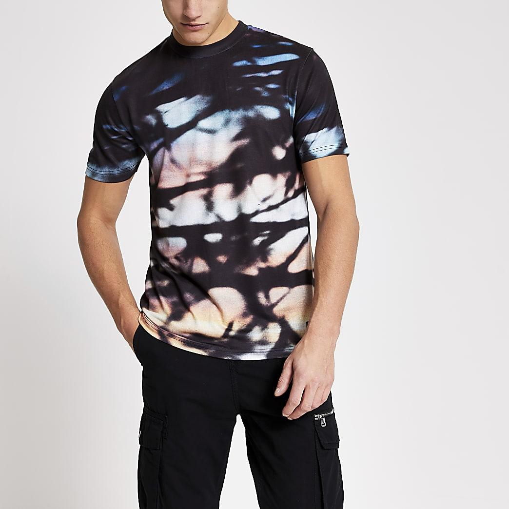 Kurzärmeliges schwarzes Slim Fit T-Shirt im Ombre-Look