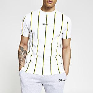 Prolific - Wit gestreept slim-fit T-shirt