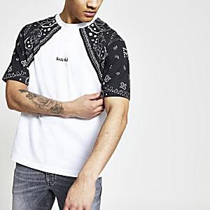 Wit boxy-fit T-shirt met 'Undefined'-print en raglanmouwen