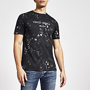 Geblümtes Slim Fit T-Shirt in Marineblau