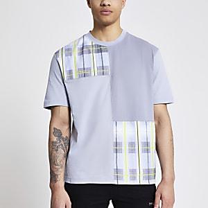 Prolific – Graues T-Shirt mit Karomuster im Blockdesign