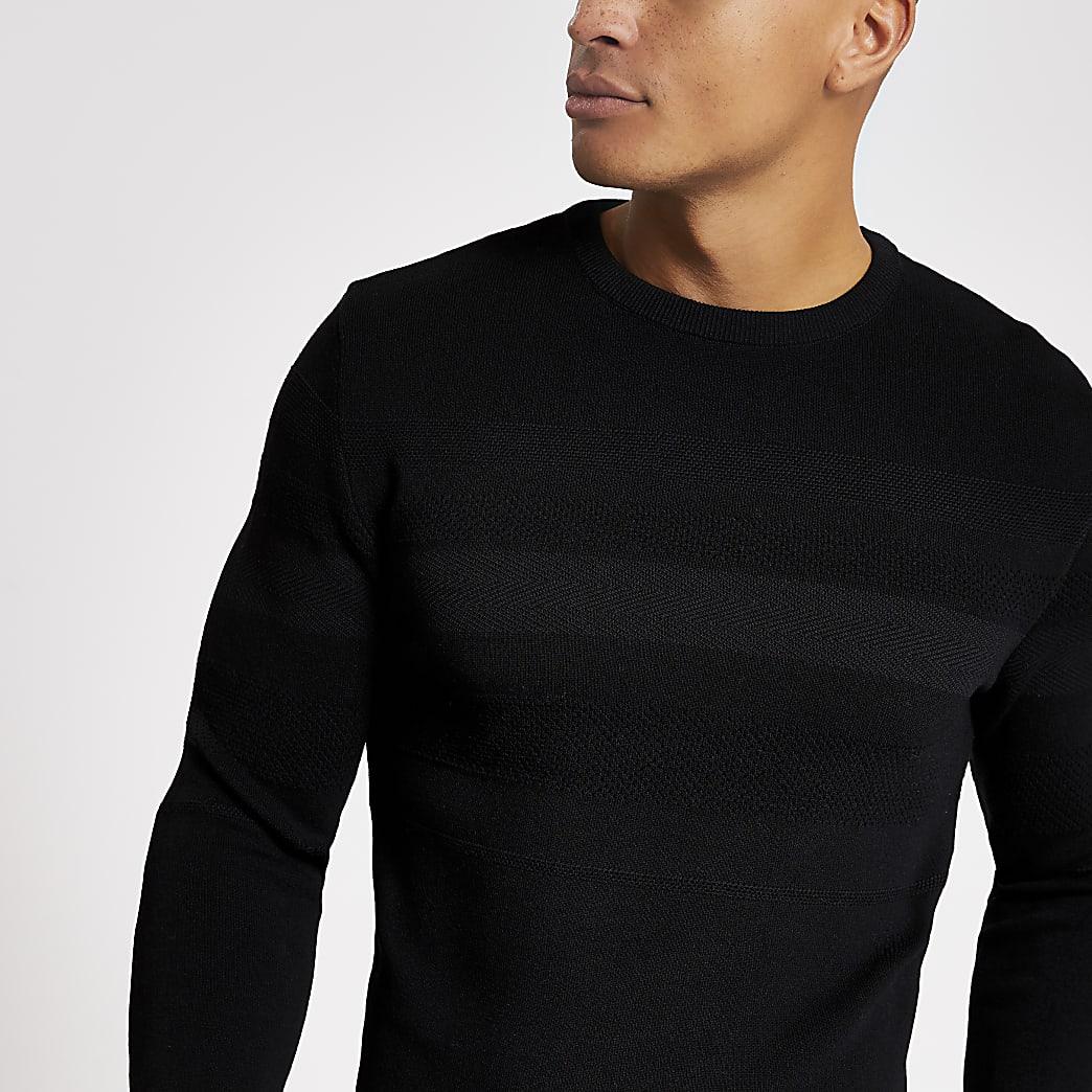 Zwarte gebreide muscle-fit top met lange mouwen