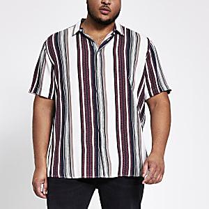 Big and Tall – Gestreiftes, strukturiertes Hemd in Weiß