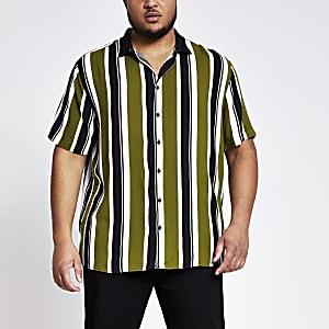 Big and Tall – Grünes, gestreiftes Hemd mit Kragen im Rippenstrick