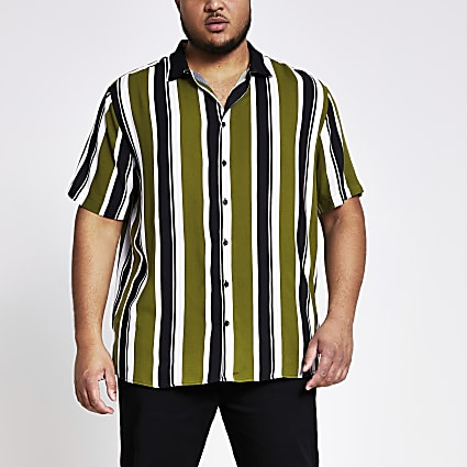 Big and Tall green stripe rib collar shirt