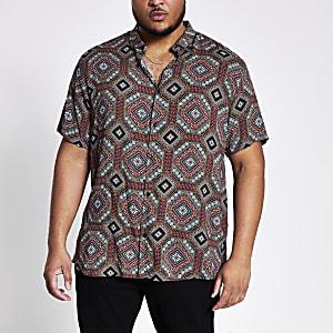 Big and Tall – Marineblaues Hemd mit Print