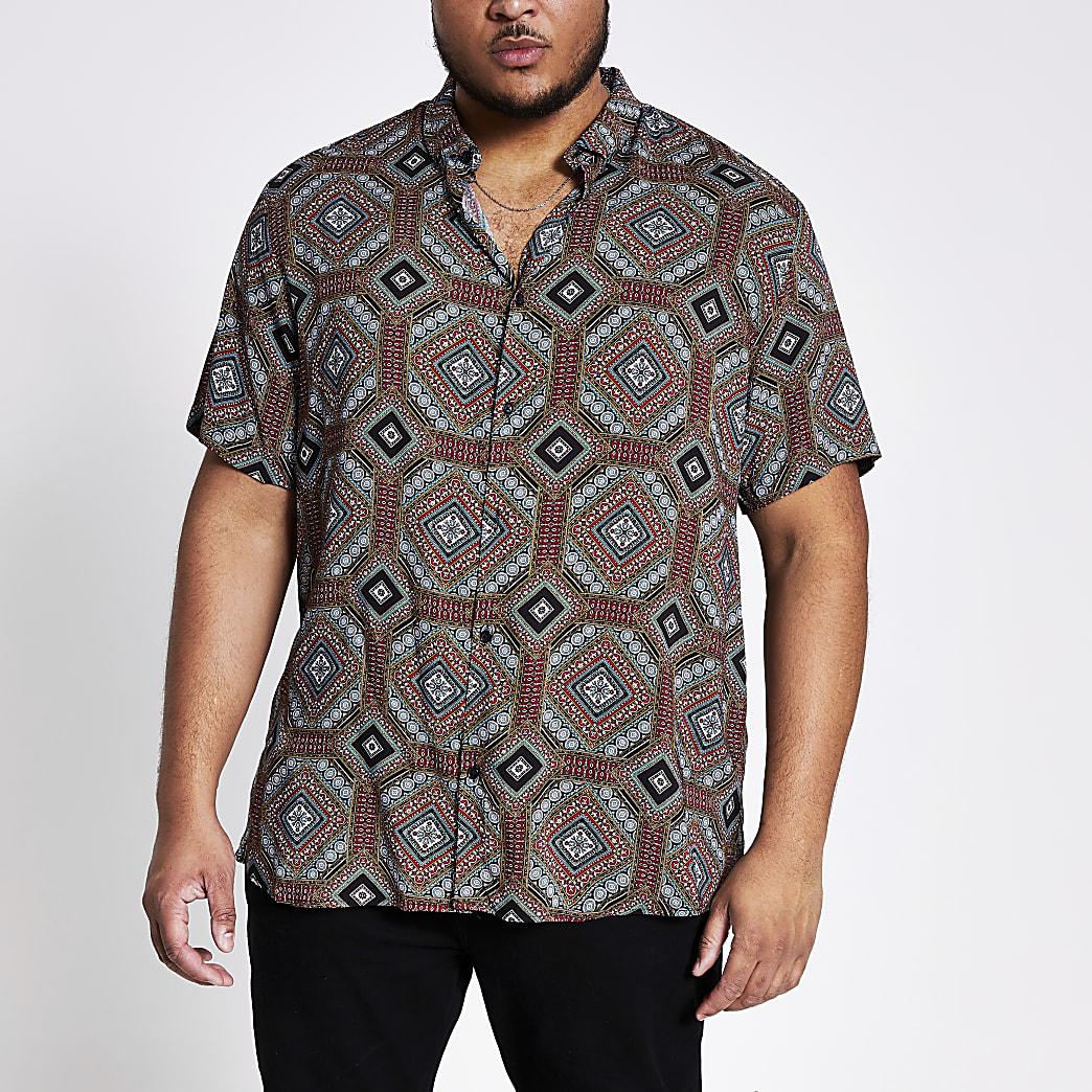 Big and Tall - Marineblauw overhemd met print