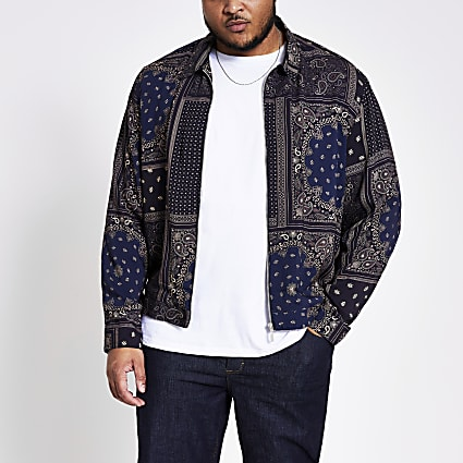 Big and Tall navy printed overshirt
