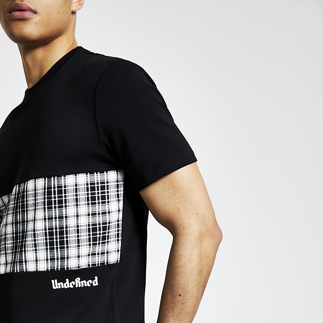 Black check blocked 'Undefined' T-shirt