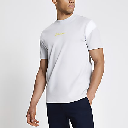 Prolific grey colour blocked regular T-shirt