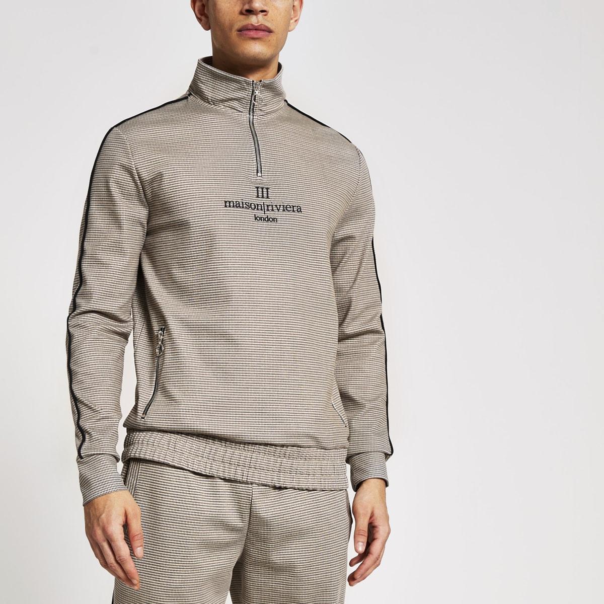 Maison Riviera brown check zip sweatshirt