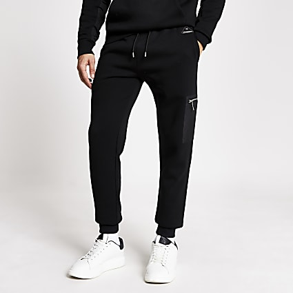 MCMLX black nylon slim fit joggers