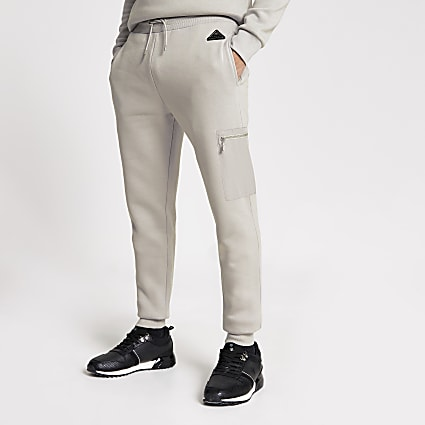 MCMLX grey nylon slim fit joggers