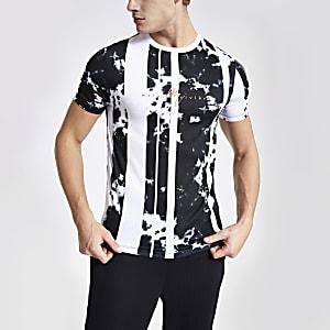 Maison Riviera – Weißes T-Shirt im Muscle Fit mit Print
