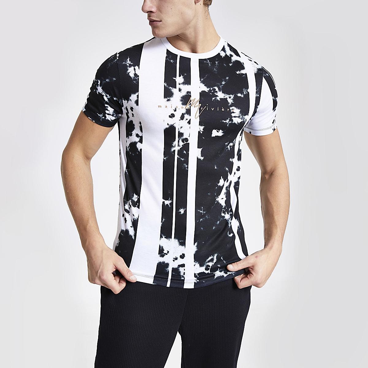 Maison Riviera white print muscle fit T-shirt