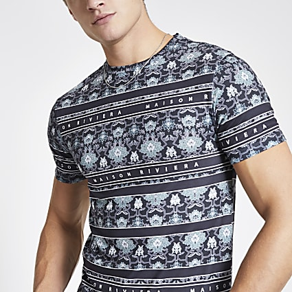 Navy Maison Riviera border muscle fit T-shirt