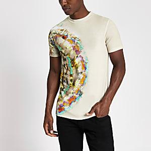 Steingraues Batik-T-Shirt im Muscle Fit