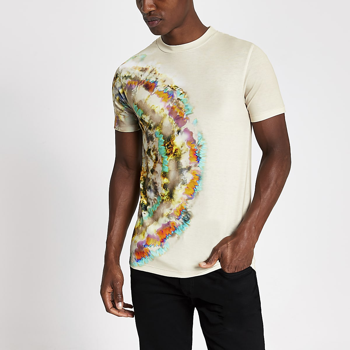 Stone  tie dye muscle fit T-shirt