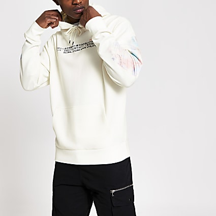 White printed long sleeve slim fit hoodie