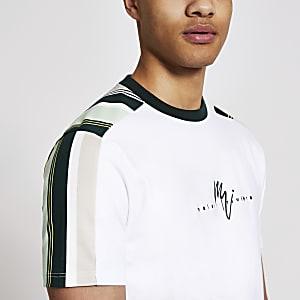 Maison Riviera – Weißes, gestreiftes Slim Fit T-Shirt