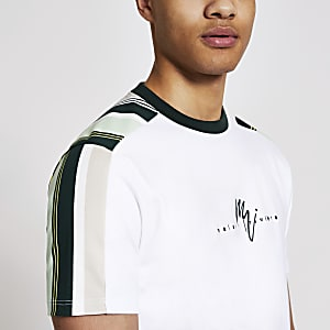 MaisonRiviera- Wit gestreept slim-fit T-shirt