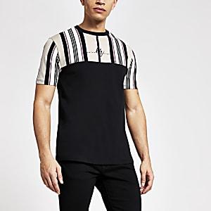 Maison Riviera – Cremefarbenes, gestreiftes Slim Fit T-Shirt