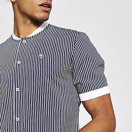 Maison Riviera navy stripe baseball shirt