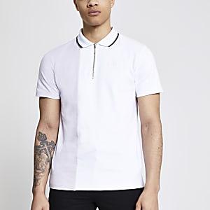 Lila Slim Fit Poloshirt in Blockfarben mit kurzem Reißverschluss