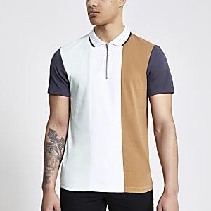 Weißes Poloshirt mit kurzem Reißverschluss in Blockfarben