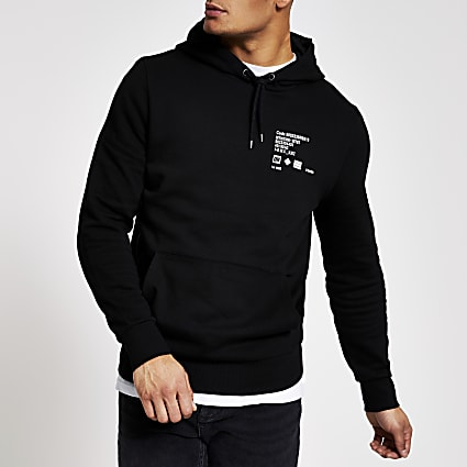 Black printed slim fit hoodie