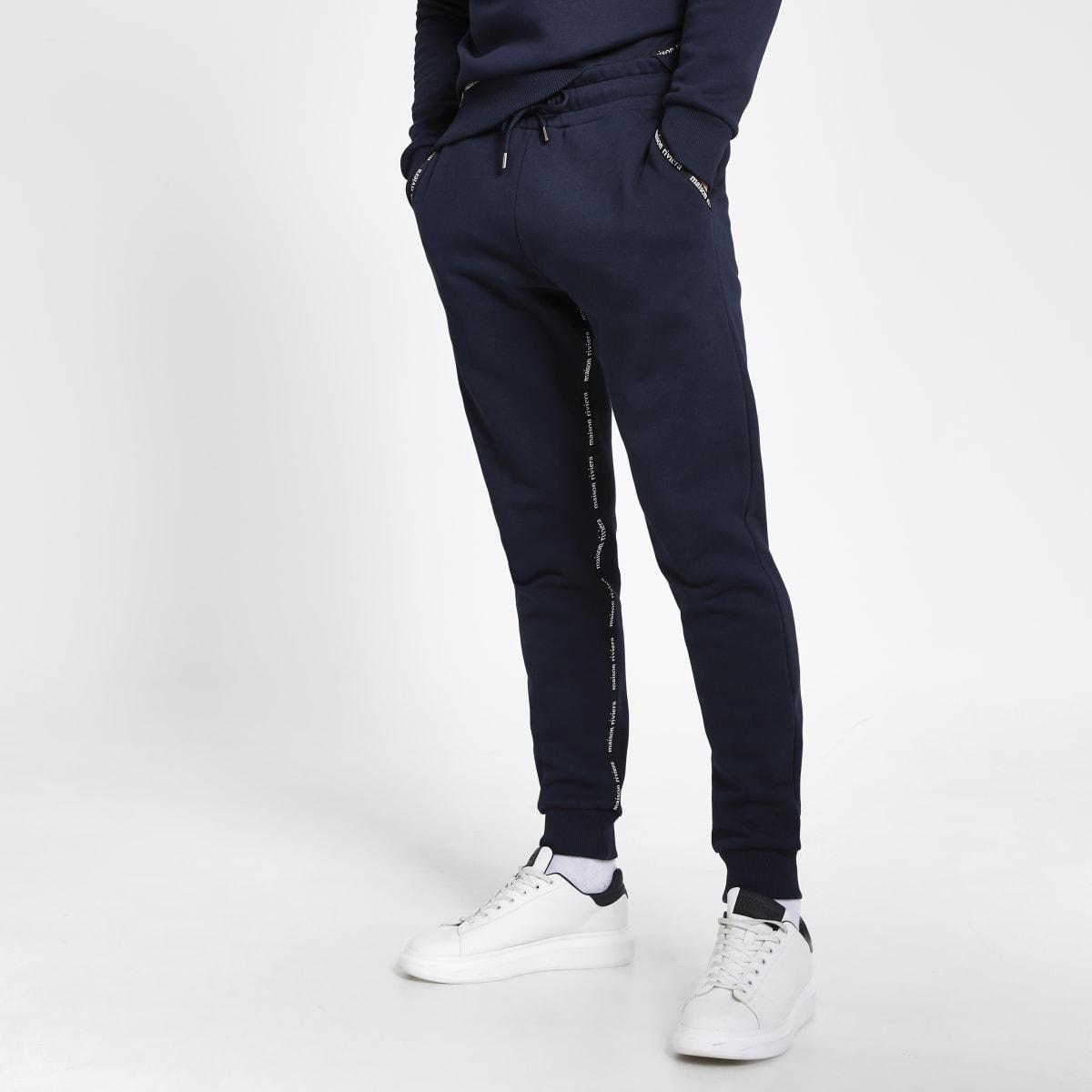Maison RIviera – Pantalons de jogging fuselés bleu marine avec bande logo